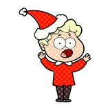 Comic book style illustration of a man gasping in surprise wearing santa hat. A creative illustrated comic book style illustration of a man gasping in surprise vector illustration