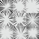 Comic book superhero pop art style black and white radial lines background. Manga or anime speed frame. Big collection of Explosion Stock Photos