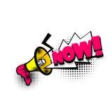 Comic book text bubble mouthpiece, now. Lettering mouthpiece, now, boom explosion. Comics book balloon. Bubble icon speech phrase. Cartoon font label tag Stock Photo