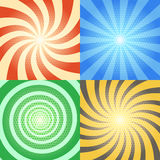 Comic book vector backgrounds set. Retro sunburst and spiral effects with halftone pattern Stock Image