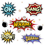 Comic book vector elements. Words and exclamations set Stock Photo