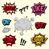 Comic book vector exclamation stock images