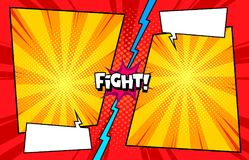 Comic book versus fight template background, halftone print texture stock illustration
