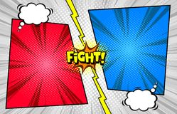 Comic book versus fight template background, halftone print texture royalty free illustration