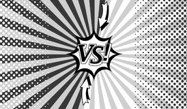 Comic book versus monochrome background. With two sides, arrows, speech bubble, radial and halftone effects in gray colors. Vector illustration Stock Illustration