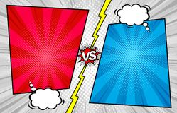 Free Comic Book Versus Template Background, Halftone Print Textur Royalty Free Stock Images - 115839669