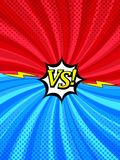 Comic book versus vertical style background. With two sides, arrows, white speech bubble, lightning, twisted radial and halftone effects in blue and red colors Royalty Free Illustration