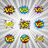 Comic book versus vintage icon set, battle intro Royalty Free Stock Photography