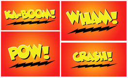 Comic Book Words Pow Wham Crash Royalty Free Stock Photos