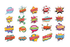 Comic book words set. Nice bam super love game over star you sweet surprise hey thanks fine superb bingo look amazing bye welcome awesome good. Pop art retro Stock Image