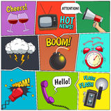 Comic Books Colorful Panels Design Set Stock Photo