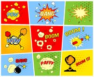 Comic boom or blast explosions Stock Images