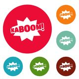 Comic boom kaboom icons circle set vector. Isolated on white background Stock Images
