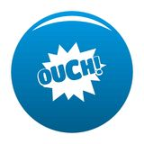 Comic boom ouch icon blue vector. Comic boom ouch icon vector blue circle isolated on white background Stock Photos