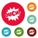 Comic boom ouch icons circle set vector. Isolated on white background Stock Photography
