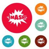 Comic boom smash icons circle set vector Stock Image