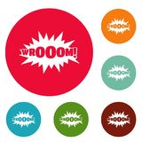 Comic boom sticker icons circle set vector Stock Photos