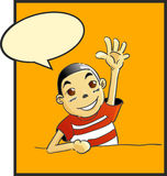 Comic boy. On the orange background,and say hi to some one Royalty Free Stock Photos