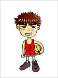 Comic boy and basketball. And a basket on the white Royalty Free Stock Photo