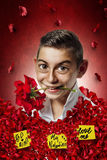 Comic of boy holding rose in mouth Royalty Free Stock Images
