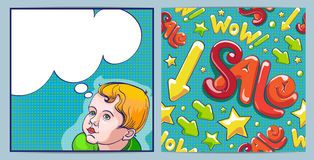 Comic boy with speech bubble. Sale shopping seamless pattern Stock Image