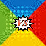Comic bright confrontation background. With four opposite sides, speech bubble, radial and halftone effects in blue, yellow, red and green colors. Challenge Stock Images