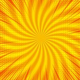 Comic bright orange background. With rays radial and halftone humor effects. Vector illustration Stock Photo