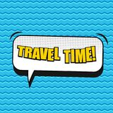 Comic bright poster. With Travel Time wording white speech bubble sound dotted and waves humor effects on blue background. Vector illustration Royalty Free Stock Photo