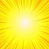 Comic bright sunny background. With yellow dots radial and orange rays effects. Vector illustration Stock Image