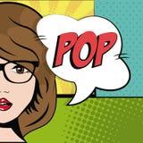 Comic brunette girl glasses bubble speech pop art. Vector illustration Stock Photography