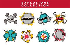 Comic bubble clouds set cartoon text Boom Bang and Pow explosions and puff blasts. Stock Photography