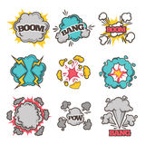 Comic bubble clouds of vector cartoon text exclamations boom, bang explosions Stock Images
