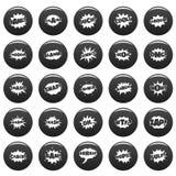 Comic bubble sound icons set vetor black. Comic bubble sound icons set. Simple illustration of 25 comic bubble sound vector icons black isolated Stock Photo