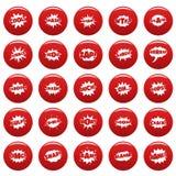 Comic bubble sound icons set vetor red. Comic bubble sound icons set. Simple illustration of 25 comic bubble sound vector icons red isolated Stock Photography