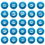Comic bubble sound vector icons set blue, simple style. Comic bubble sound icons set blue. Simple illustration of 25 comic bubble sound vector icons for web Royalty Free Stock Photography