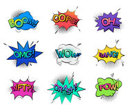 Comic bubble speeches and sounds. Isolated cartoon comic bubble speeches and onomatopoeia sounds like boom for explosion, oops and oh, omg and wow, wtf wonder Stock Photos