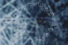 Comic bubbles circle with different reactions to a product or co. Feedback concept: circle of comic bubbles with different reactions to a product or company Royalty Free Stock Photo