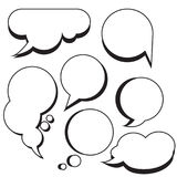 Comic bubbles and clouds cartoon text boxes Royalty Free Stock Images