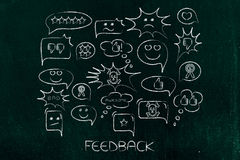 Comic bubbles with different reactions to a product or company. Feedback concept: group of comic bubbles with different reactions to a product or company Royalty Free Stock Image