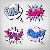 Comic Bubbles with Expressions. Pop Art Bubbles Royalty Free Stock Photo