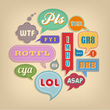 Comic bubbles with popular Acronyms & Abbreviations. A set of colorful vector comic bubbles and elements with popular acronyms and abbreviations Royalty Free Stock Photography