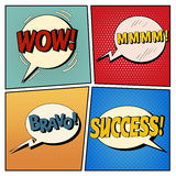 Comic Bubbles Set. Expressions Wow, Mmmm, Bravo, Success Stock Image