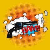 Comic bubbles speech cowboy pistol shot print. Text sound effect. Royalty Free Stock Photos