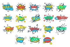 Comic bubbles with words and abbreviations sett, comic book explosion vector Illustrations on a white background. Comic bubbles with words and abbreviations sett Stock Photos