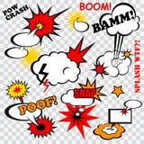 Comic bubles. Boom comic bubbles snap humor fun template design for superhero book vector illustration Royalty Free Stock Image