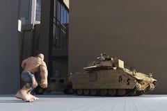 Comic-Buch-Art-Superschuft stellt Armee gegenüber Stockbild
