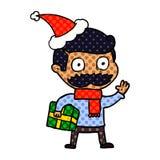 Comic-Buch-Artillustration eines Mannes mit dem Schnurrbart- und Weihnachtsgeschenk, das Sankt-Hut tr?gt lizenzfreie abbildung