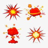 Comic-Buch-Explosion, Bomben und Explosions-Satz Lizenzfreie Stockfotografie