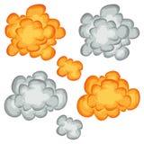Comic-Buch-Explosion, Wolken und Rauch-Satz stock abbildung