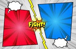 Comic-Buch gegen Kampfschablonenhintergrund, Halbtondruckbeschaffenheit lizenzfreie abbildung